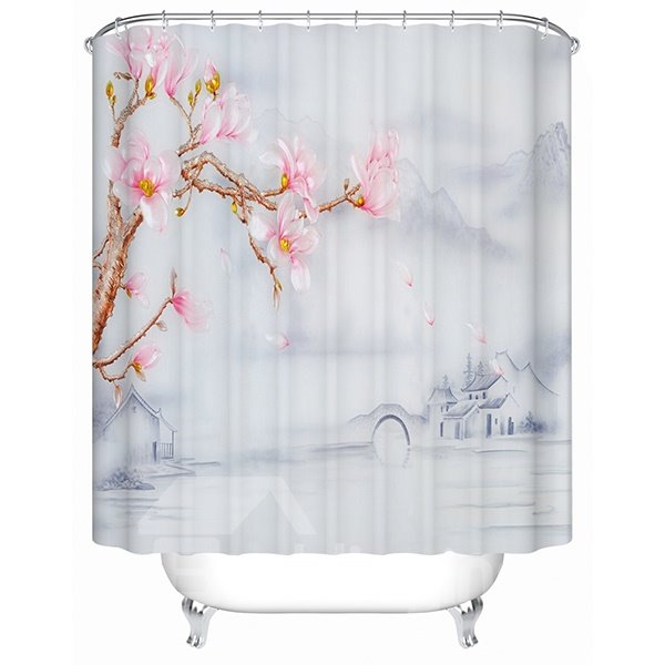 Simple and Elegant Pink Flowers Print 3D Bathroom Shower Curtain