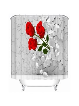 Three Red Roses Bursting through the Wall Print 3D Bathroom Shower Curtain
