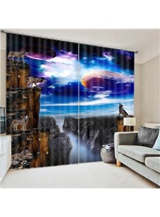 Wolves Howling at Night During the Full Moon Print 3D Blackout Curtain