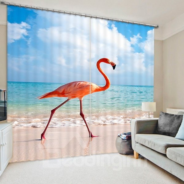 3D Elegant Flamingo on the Beach Printed 2 Pieces Decorative and Blackout Curtain