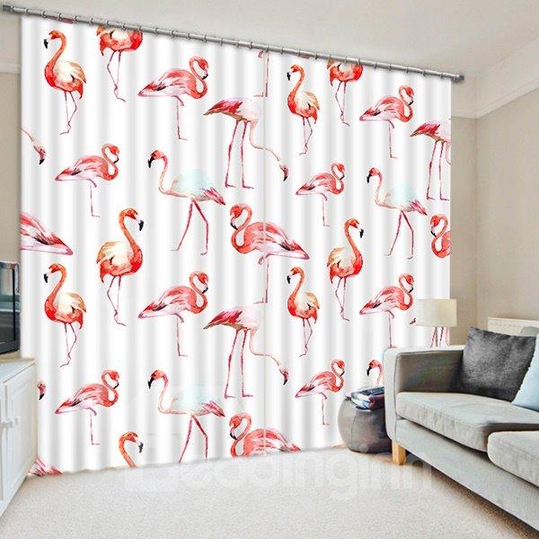 Chic Various Little Flamingos Printing 3D Curtain