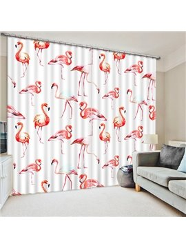 Chic Various Little Flamingos Printing 3D Curtain