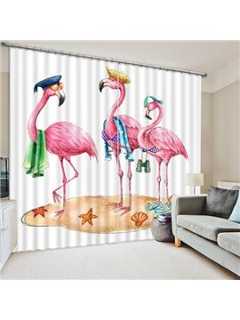 Three Cute Cartoon Flamingos Printing 3D Curtain
