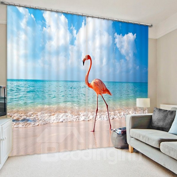A Flamingo Standing on the Beach Print 3D Blackout Curtain