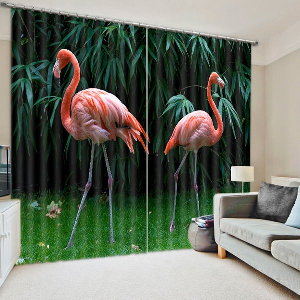 3D Beautiful Couple Flamingos and Bamboos Printed Animal Style Blackout Polyester Curtain