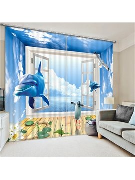 Dolphin and Penguins Rushing out of the Window Print 3D Blackout Curtain