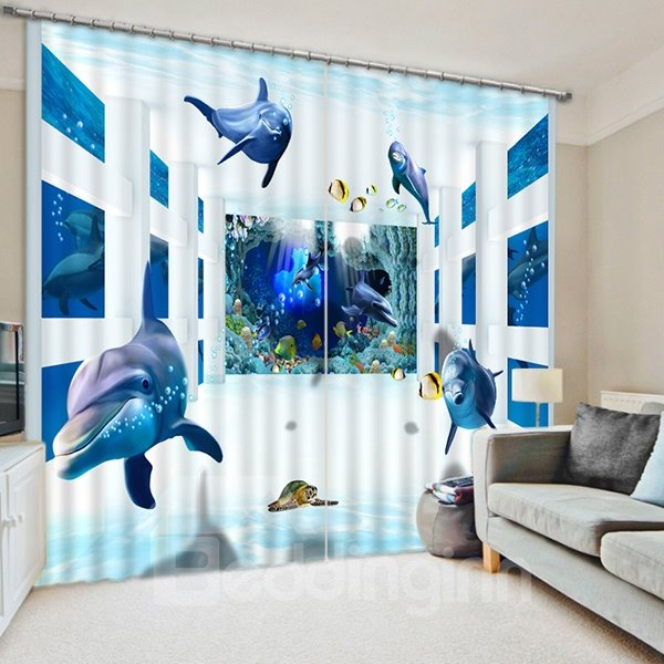 Many Dolphins Swimming Print 3D Blackout Curtain