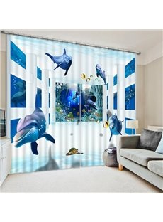 Many Penguins Swimming Print 3D Blackout Curtain
