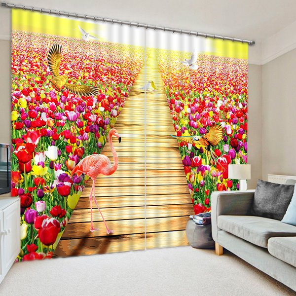 Flamingos and Colored Flowers Print 3D Blackout Curtain