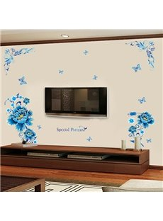 Blue Flowers Pattern Television Wall Sticker