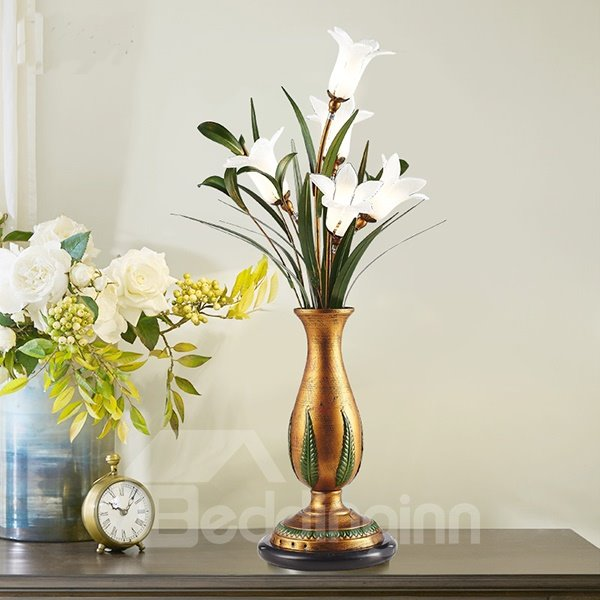 Creative Country Style Flower Vase Shape Table Lamp