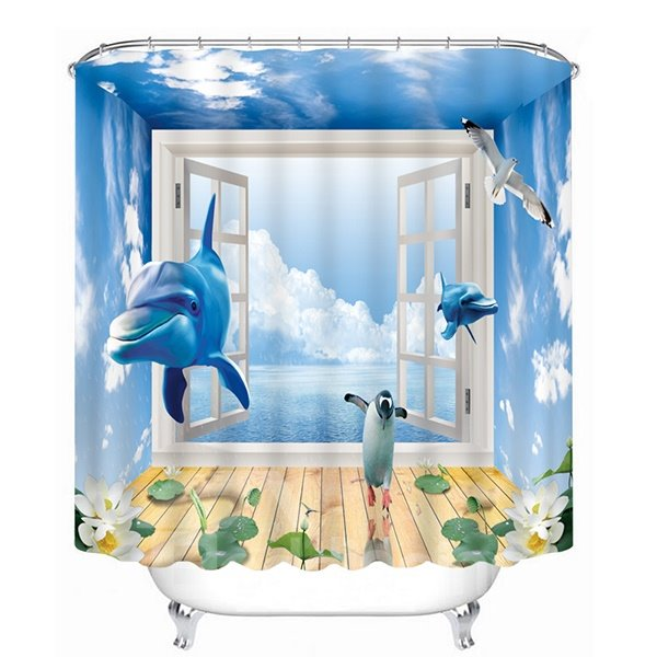 Dolphin and Penguins Rushing out of the Window Print 3D Bathroom Shower Curtain