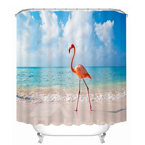 3D Walking Flamingo on the Beach Printed Light Blue Polyester Shower Curtain