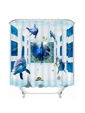 Many Dolphins Swimming Print 3D Bathroom Shower Curtain