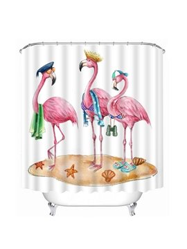 Three Cute Cartoon Flamingos Print 3D Bathroom Shower Curtain