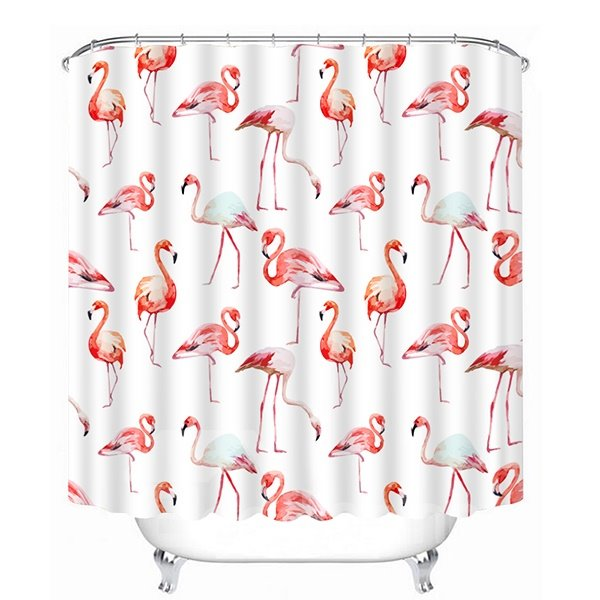 Various Little Flamingos Print 3D Bathroom Shower Curtain