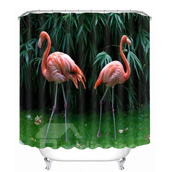 Two Flamingos Walking in the Woods Printing 3D Bathroom Shower Curtain