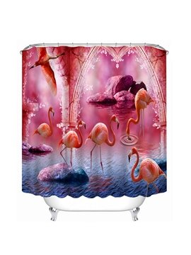 Plenty of Flamingos Walking and Flying Print 3D Bathroom Shower Curtain