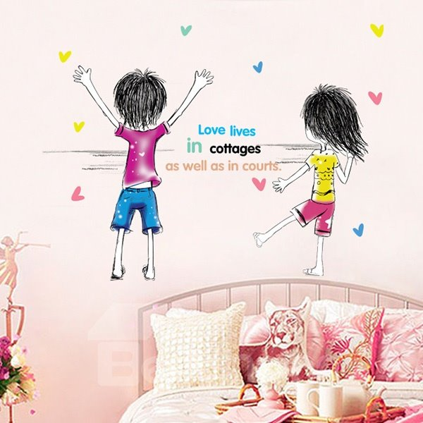 Romantic Couple Love Pattern Wall Sticker
