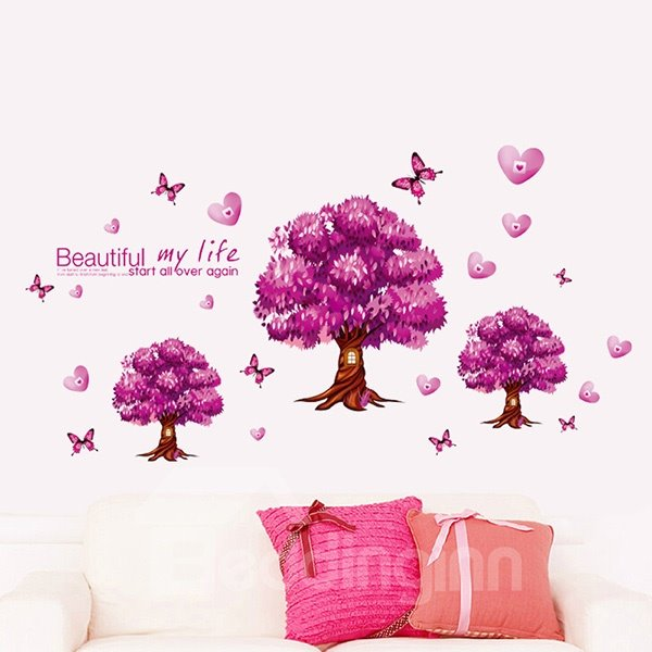 Pink Beautiful Life and Tree Pattern Wall Sticker