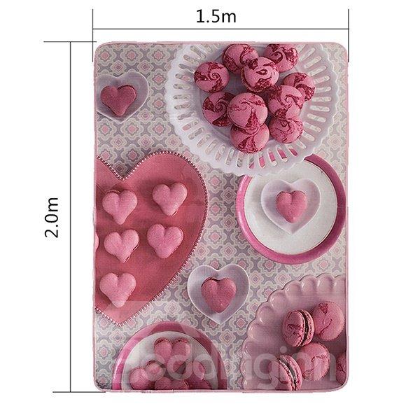 New Arrival Pink Heart Dessert Pattern Area Rugs