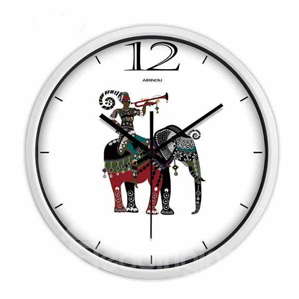 White Simple Elephant Pattern Wall Clock