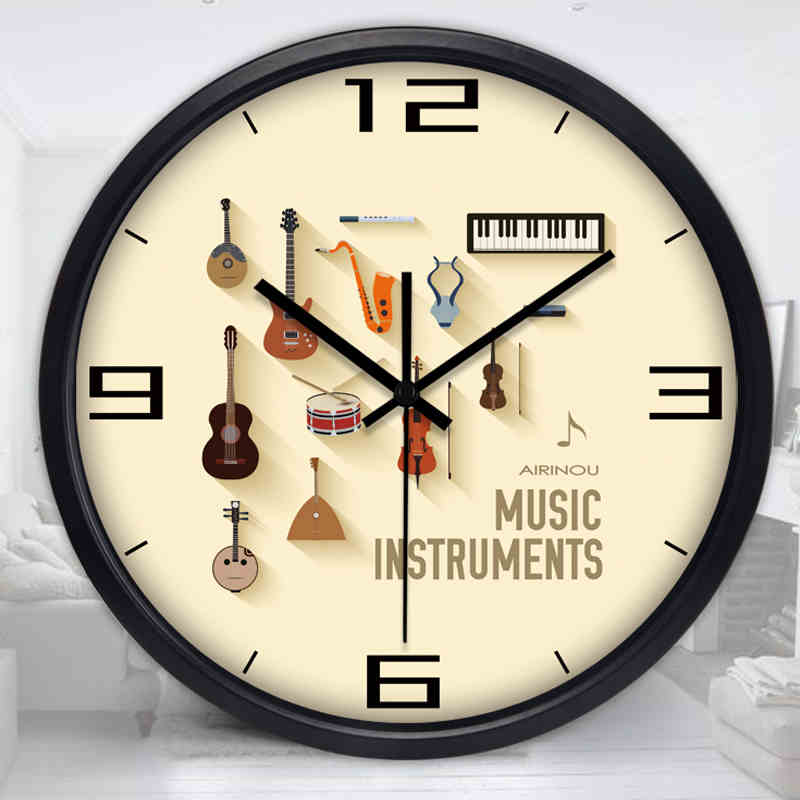 New Arrival Round Music Gitar Pattern Wall Clock