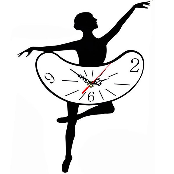 Elegant Black Creative Ballet Pattern Wall Clock
