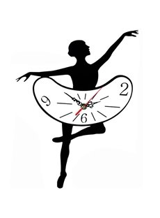 Elegant Black Creative Ballet Pattern Wall Clock
