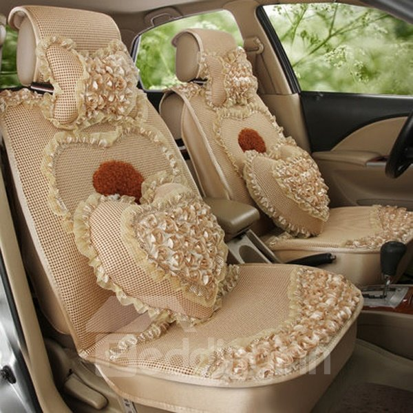 Luxurious Flower Decoration And Environment Material Most Beautiful Universal Car Seat Cover
