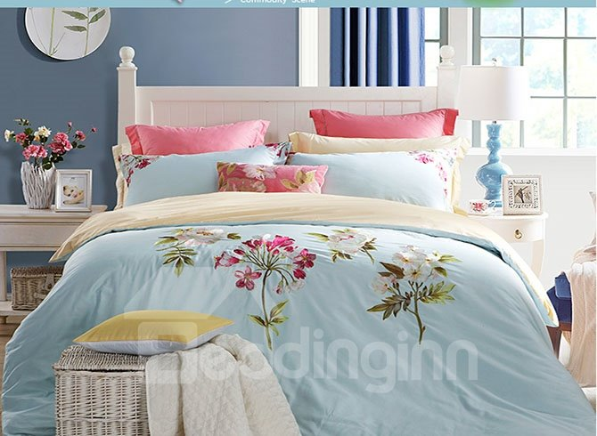 Pastoral Elegant Flowers Embroidery Blue 4-Piece Cotton Bedding Sets