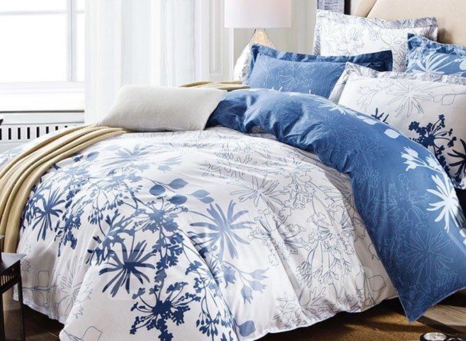 Unique Charming Flowers Print 4 Pieces Cotton Bedding Sets