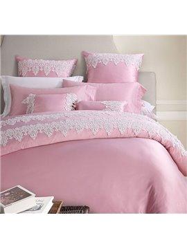 Fantastic Graceful Lace Trim Pink 4-Piece Polyester Bedding Sets