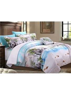 Fabulous Beach View Print 4-Piece Cotton Bedding Sets