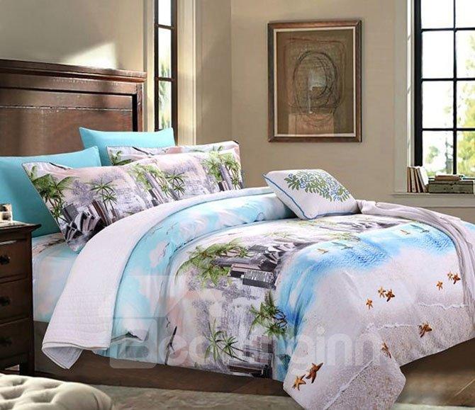 Fabulous Beach View Print 4-Piece Cotton Bedding Sets