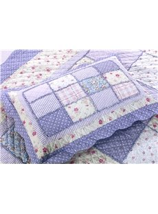 Elegant Flowers Print Cotton 3-Piece Bed in a Bag