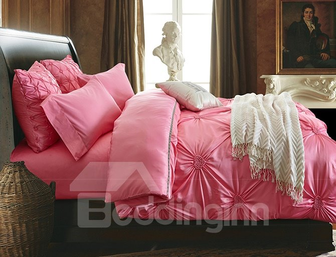 Exquisite Pinch Pleat Pink 4 Pieces Polyester Bedding Sets