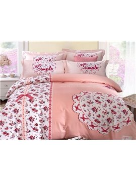 High Class Lovely Heart Pattern 4 Pieces Cotton Bedding Sets
