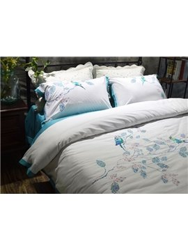Stylish Birds and Flowers Embroidery White 4-Piece Cotton Bedding Sets