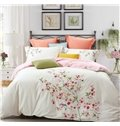 Chic Flowers Embroidery White 4-Piece Cotton Bedding Sets