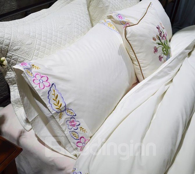 American Pastoral Style Flowers Embroidery White 4-Piece Cotton Bedding Sets