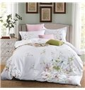 Pastoral Style Flower Embroidery White 4-Piece Cotton Bedding Sets