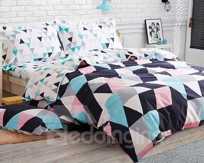 Fashion Style Rhombus Print 4-Piece Cotton Duvet Cover Sets