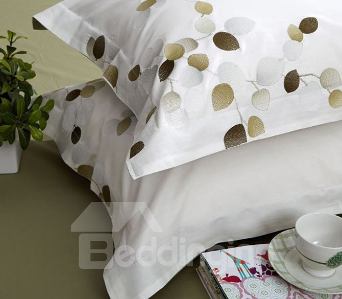 Pastoral Style Embroidery White 4-Piece Cotton Duvet Cover Sets