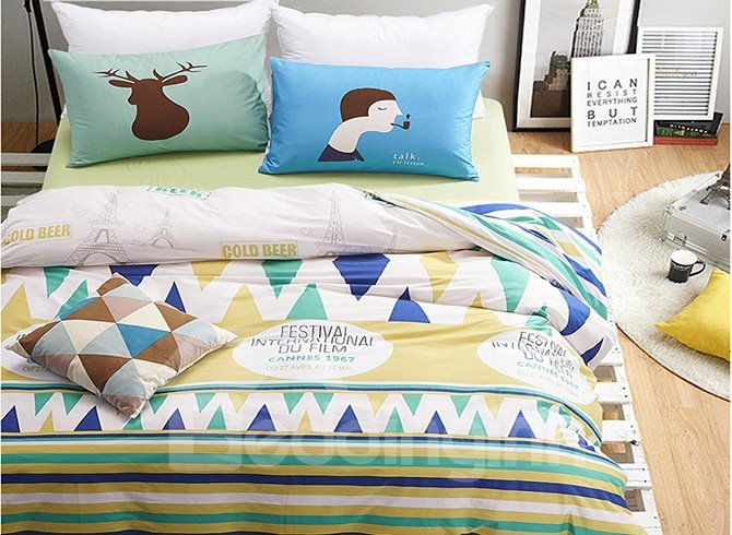 Stylish Triangle and Stripe Print 4-Piece Cotton Duvet Cover Sets