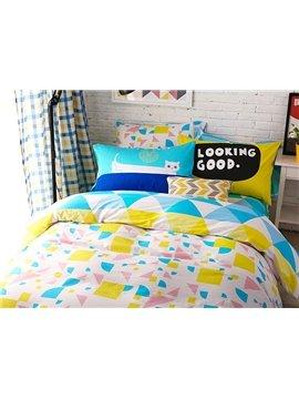 Fresh Fabulous Triangle Pattern 4-Piece Cotton Duvet Cover Sets