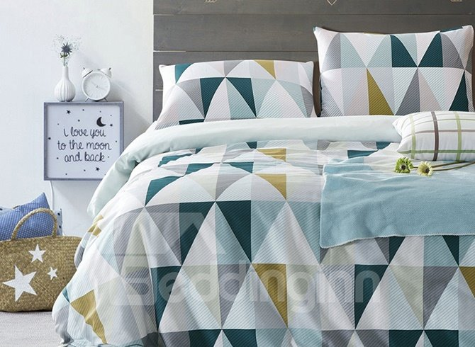 Modern Elegant Triangle Pattern 4-Piece Cotton Duvet Cover Sets