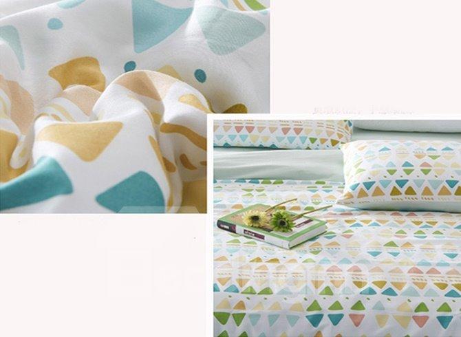 Unique Triangle Pattern 4-Piece Cotton Duvet Cover Sets