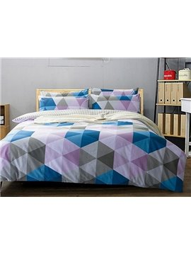 Classical Colorful Triangle Print 4-Piece Cotton Duvet Cover Sets
