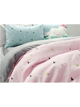 Fashion Concise Triangle Print Pink 4-Piece Cotton Duvet Cover Sets